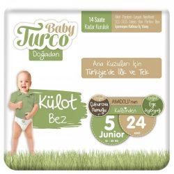 Baby Turco, Natúr, Sensitive Öko Bugyipelenka, Junior 5, (11-18 kg), 24 db