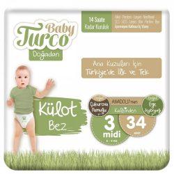 Baby Turco, Natúr Bugyipelenka, Midi 3, (4-9 kg), 34 db