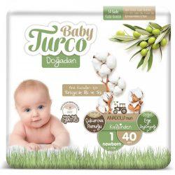 Baby Turco, Natúr, Sensitive Ökopelenka, Newborn Újszülőtt 1, (2-5 kg), 40 db