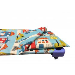 Gyermek Ágyneműhuzat szett város mintás kék, zipzáros, 90x140 cm