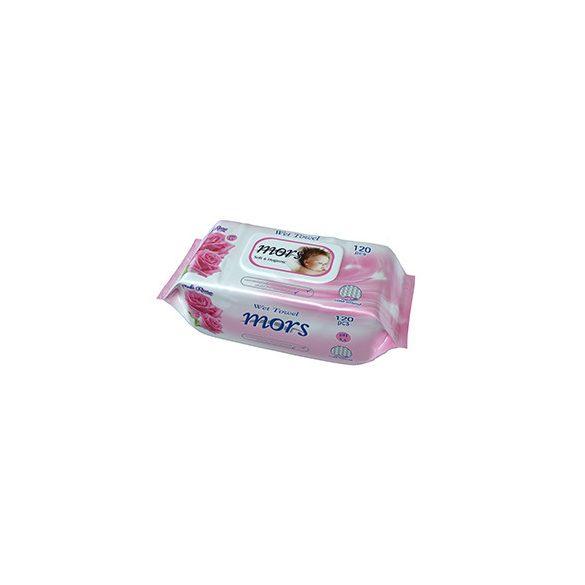 Mors Soft & Hygienic rózsa illatú nedves törlőkendő fedeles  120 db