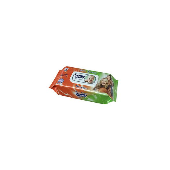 Wipest Hygiene parabénmentes nedves törlőkendő fedeles, 72 db