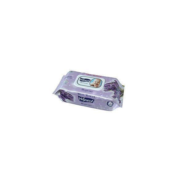 Wipest Hygiene levendula illatú parabénmentes Baba nedves törlőkendő fedeles, 100 db