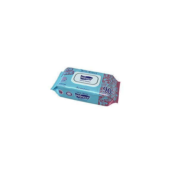 Wipest Sensitive nedves törlőkendő fedeles, 90 db